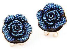 Blue Roses Stud Earrings Multilayer Resin Flower