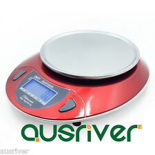 Red 6kg/1g High Precision Digital Kitchen Scale with Tray LED Blue Backlit
