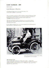 Daimler 12 HP 1899 London Motor Show Exhibit single sheet Flyer pub. 1971