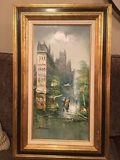 """BEAUTIFUL OIL PAINTING ARTIST SIGNED STANFORD CITY SCENE CANVAS FRAMED 32""""x20"""""""