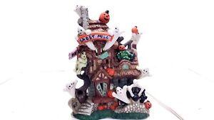 Halloween Village Ceramic HAUNTED HOUSE Ghosts & Pumpkins Ghost Mill Works
