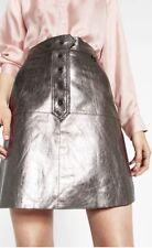 BNWT Zara REAL LEATHER SILVER METALLIC gloss SKIRT MINI A-LINE trapeze SIZE M