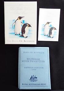 1992 BIRDS of AUSTRALIA PENGUINS $10 SILVER COIN in WALLET MELBOURNE COIN FAIR
