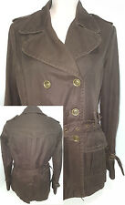 MASSIMO DUTTI Womens Double Breasted Heavy Jacket Coat Belt Quilt Brown Medium