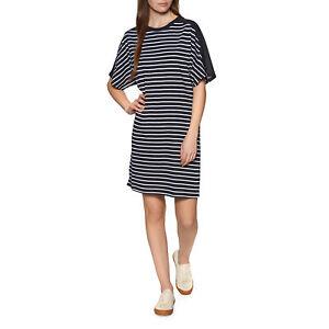 Superdry Cotton Modal Tshirt Womens Skirt/dress Dress - Eclipse Navy Stripe