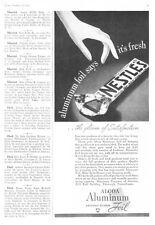 1937 Nestle's Milk Chocolate Candy Bar photo Alcoa Aluminum Foil promo print ad