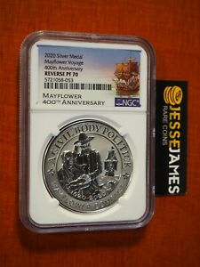 2020 REVERSE PROOF SILVER MAYFLOWER VOYAGE NGC PF70 400TH ANNIVERSARY 1 OZ