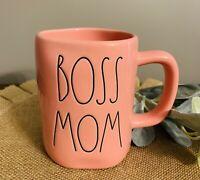 "New RAE DUNN Artisan Collection LL ""BOSS MOM"" Pink Mug By Magenta"