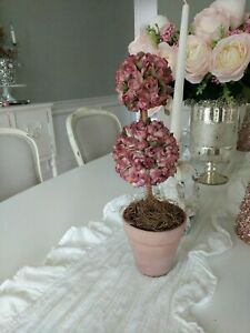 Shabby Victorian  ROse Topiary Pink Urn pot artificial boxwood style flowers