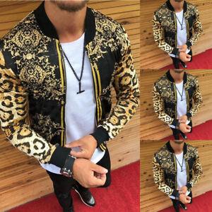 Korean Fashion Men's Bomber Jacket Floral Zipper Slim Fit Stand Collar Coat NEW