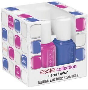 NIB ESSIE MINI NEON 2014 4 Mini Bottles Nail Polis, Blu, Pink, White, Top Coat,