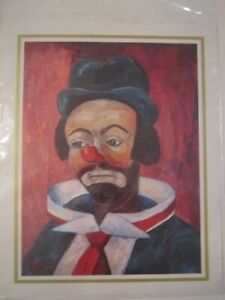 """LOT OF 4 CLOWN PRINTS BY MICHELE - 8"""" X 10"""" - IN PLASTIC SLEEVES - LOT 2"""