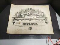 Vintage Oversized 1918 Public High School Diploma, Americus Georgia