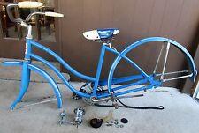 VTG HAWTHORNE MONTGOMERY WARD BICYCLE PRE-WAR BLUE ROCKET HANDLES GLITTER SEAT