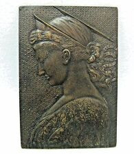 FRANCE / LARGE BRONZE PLAQUE MEDAL ART NOUVEAU WOMAN / 142 mm x 208 mm / N134