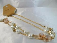 NWT MONET GOLD & PEARL with CRYSTAL & AURORA BEADED LONG STATEMENT NECKLACE