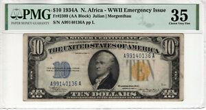 1934 A $10 SILVER CERTIFICATE NORTH AFRICA FR.2309 AA BLOCK PMG CH VF 35 (136A)