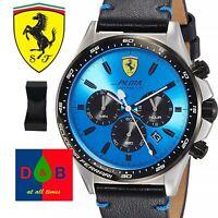 Scuderia Ferrari 0830388 Men's Chronograph Quartz Watch Leather Strap Blue Dial