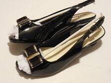 """Annie Shoes Women's """"End Game"""" Black Patent Bow Dress Sandals 6.5 M"""