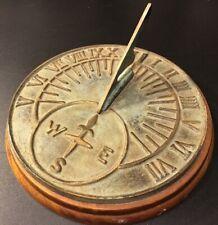 "Antique Sundial Sun Dial Desk Clock 7"""