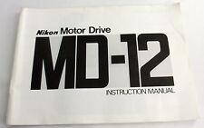 (PRL) NIKON MD-12 MOTOR DRIVE MANUALE INSTRUCTION MANUAL GUIDE UTILISATION ENGL.