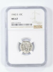 MS67 1943-S - Mercury Silver Dime - NGC Graded *688
