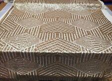 2b3480bd68 Champagne Gold Geometric Sequin Fabric on Mesh 2 Way Stretch