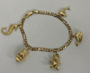 "9ct Gold Hallmarked "" Animal "" Charm Bracelet & Charms.  Goldmine Jewellers."