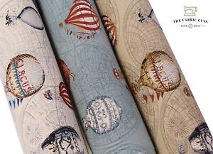 "Hot Air Balloon Sky Flight Globe , 100% Cotton Canvas Fabric, High Quality 45"""