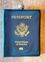 Mercury Glass United States Passport Christmas Ornament - NWT