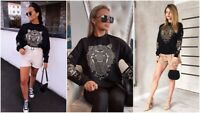 Womens Oversized Sweater Jumper Ladies Tiger NYC Winter Sweatshirt Pullover Top