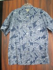 COOKE STREET HAWAIIAN FERN BLUE COTTON ALOHA SHIRT L