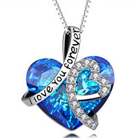 Sterling Silver Bermuda Blue Heart Necklace Made with Swarovski Crystal