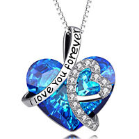 18K White Gold Plated Bermuda Blue Heart Necklace Made with Swarovski Crystal
