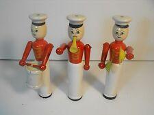3 Jaymar wooden bead type Drum & bugle corp band members. One money,