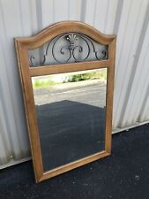 Ethan Allen Large Country French Wood & Iron Wall Mirror