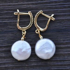 Z10521 15mm White Coin Freshwater Pearl Dangle Earring CZ