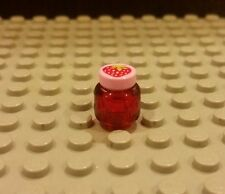 Lego NEW Large Friends Strawberry Jelly Jam Jar-Trans Red Kitchen Food Accessory