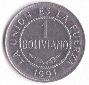 1 Boliviano 1991 Bolivia Coin KM#205