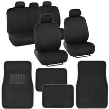 9 Piece Solid Black Seat Covers Set Split Bench and 4 Piece Black Floor Mat