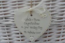 Wedding heart/plaque  keepsake gift 10cm personalised handcrafted