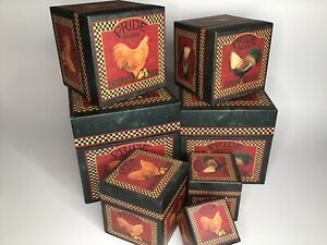 Lang Co. Nesting Boxes Set of 7 Proud Rooster By Susan Winget