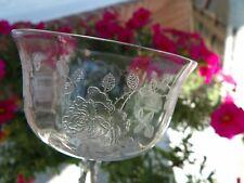"""Crystal Stem 2  Etched Rose Design 4 3/4"""" tall Elegant Glassware excellent"""