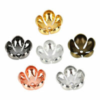 50pcs mm Copper Gold Plated Lotus Flower Bead Caps for Jewelry Findings
