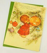 Unused Vintage Mary Hamilton Christmas Card & Envelope Angel Ornaments Hallmark