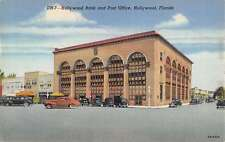 Hollywood Florida Bank And Post Office Linen Antique Postcard K22347