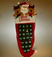 "Merry Christmas Stocking Advent Calendar Plush Santa & Reindeer 27"" Long"