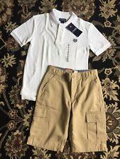Boys LEVIS Cargo Shorts Sz 8 Regular Khaki Adjustable Waist & Chaps White Shirt