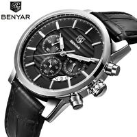 BENYAR Men Date Chronograph Leather Band Quartz Army Pilot Wrist Watch+Gift Box