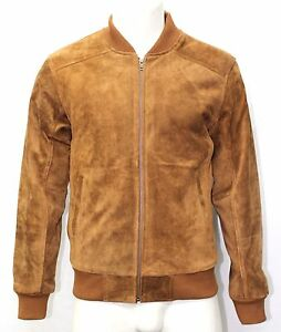 Oliver Mens 70s Bomber Tan Suede Fitted Retro Classic Rock 100% Leather Jacket